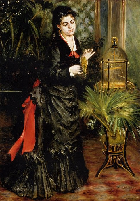 Woman with a Parrot (also known as Henriette Darras) - 1871. Пьер Огюст Ренуар