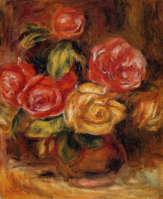 Roses in a Vase - 1895. Пьер Огюст Ренуар