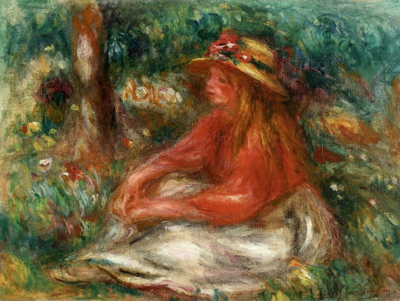 Young Girl Seated on the Grass. Pierre-Auguste Renoir