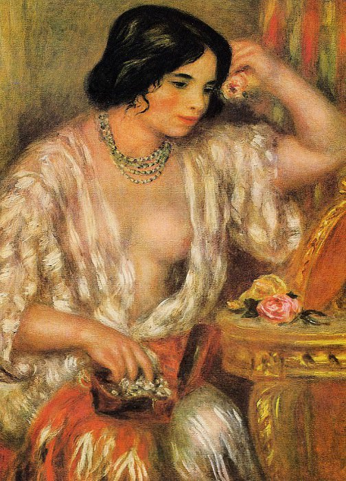 Gabrielle Wearing Jewelry - 1910. Пьер Огюст Ренуар