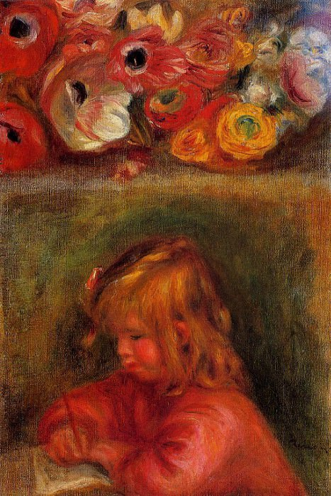Portrait of Coco and Flowers - 1905. Pierre-Auguste Renoir