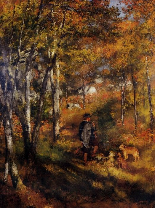 The Painter Jules Le Coeur Walking His Dogs in the Forest of Fontainebleau - 1866. Pierre-Auguste Renoir