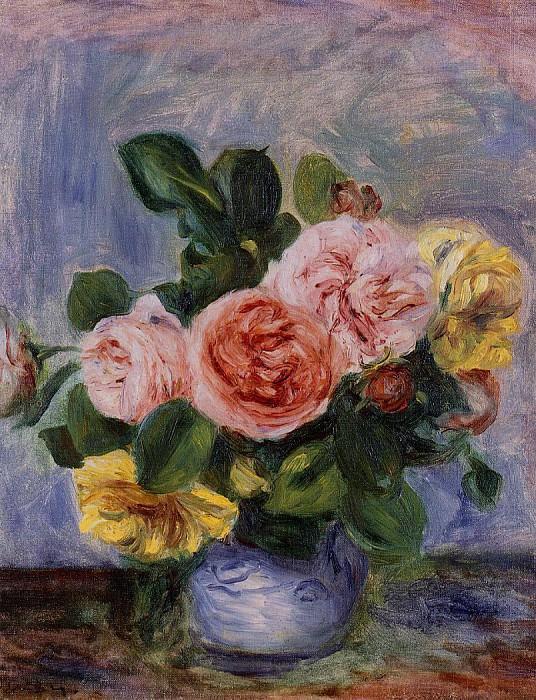 Roses in a Vase. Pierre-Auguste Renoir