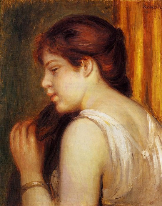 Young Girl Combing Her Hair - 1891 - 1892. Pierre-Auguste Renoir