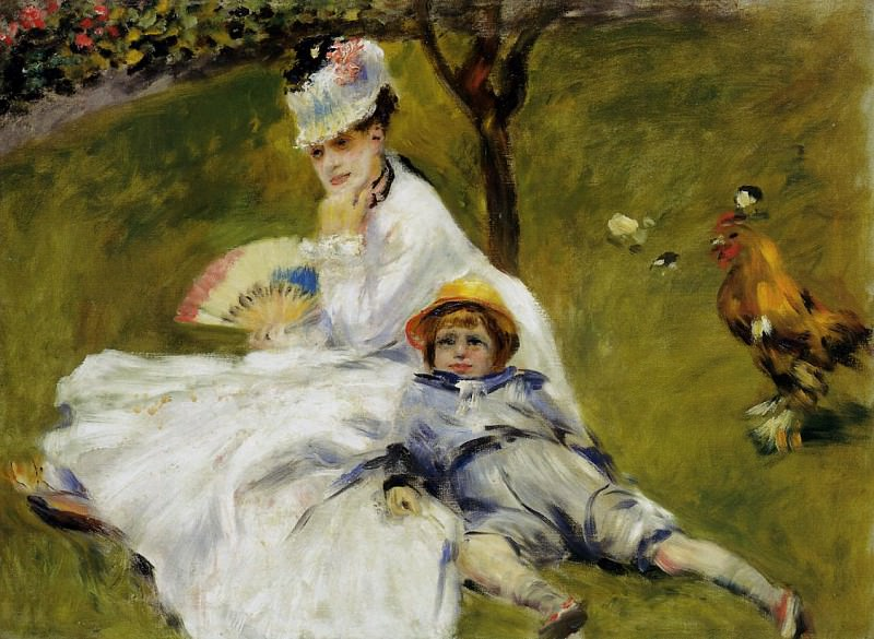Camille Monet and Her Son Jean in the Garden at Argenteuil - 1874. Пьер Огюст Ренуар