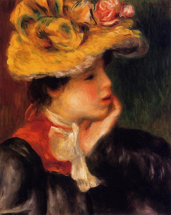 Head of a Young Woman (also known as Yellow Hat) - 1894. Пьер Огюст Ренуар
