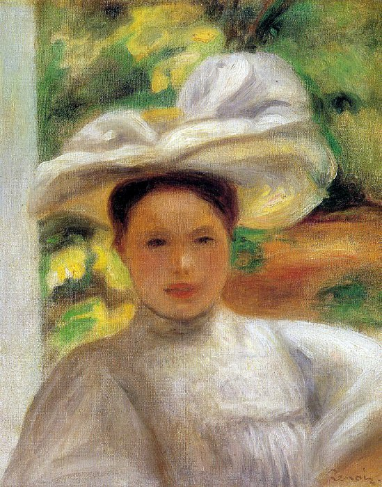 Young Woman in a Hat - 1895. Pierre-Auguste Renoir