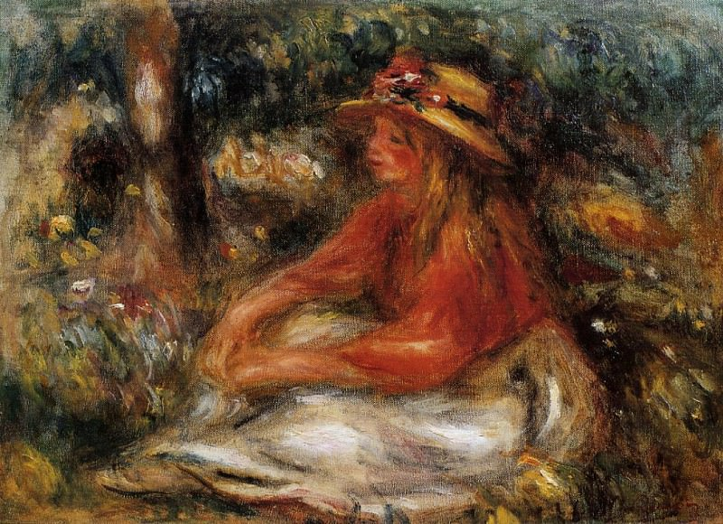 Young Woman Seated on the Grass - 1905. Пьер Огюст Ренуар