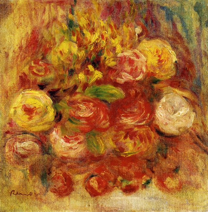 Flowers in a Vase with Blue Decoration. Pierre-Auguste Renoir
