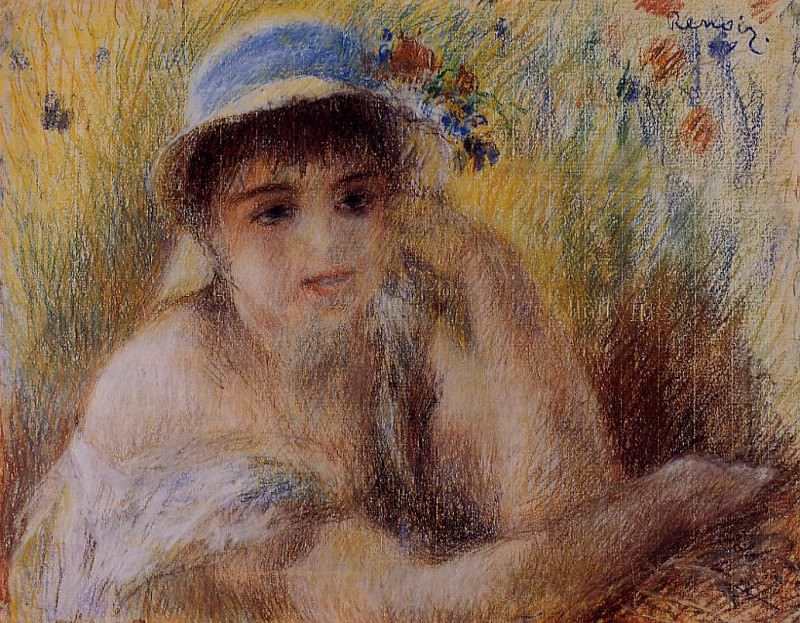 Woman in a Straw Hat - 1880. Пьер Огюст Ренуар