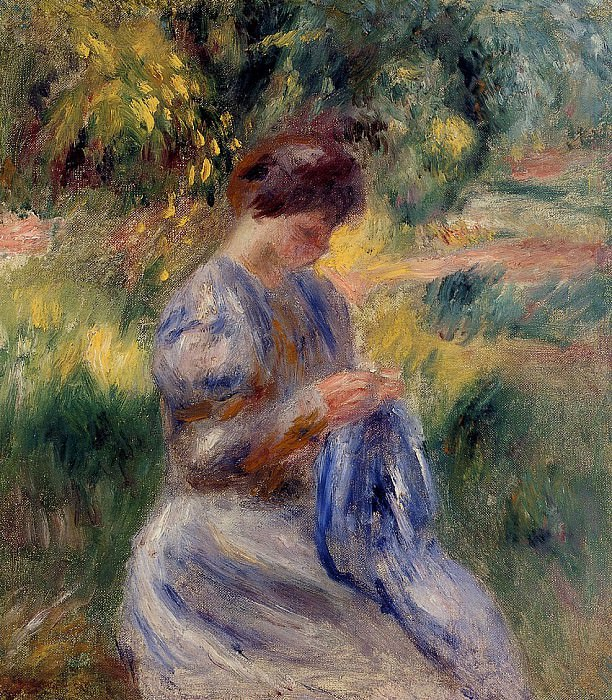 The Embroiderer (also known as Woman Embroidering in a Garden) - 1898. Пьер Огюст Ренуар