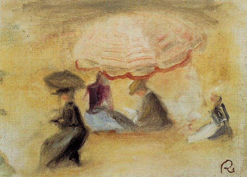 On the Beach, Figures under a Parasol - 1898. Пьер Огюст Ренуар