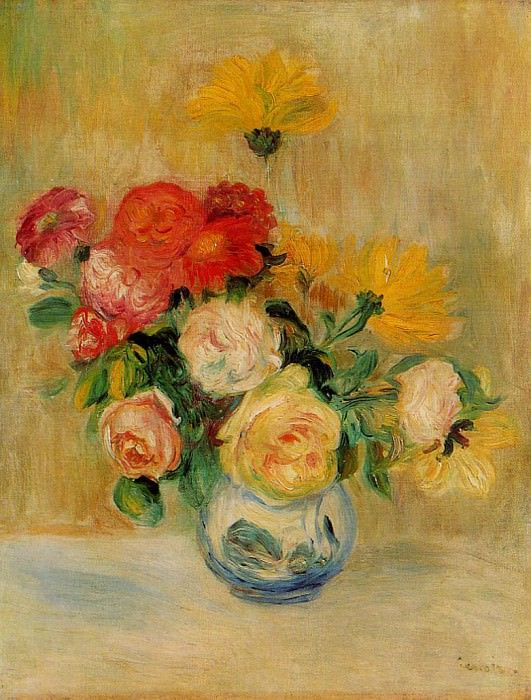 Vase of Roses and Dahlias - 1883 - 1884. Pierre-Auguste Renoir