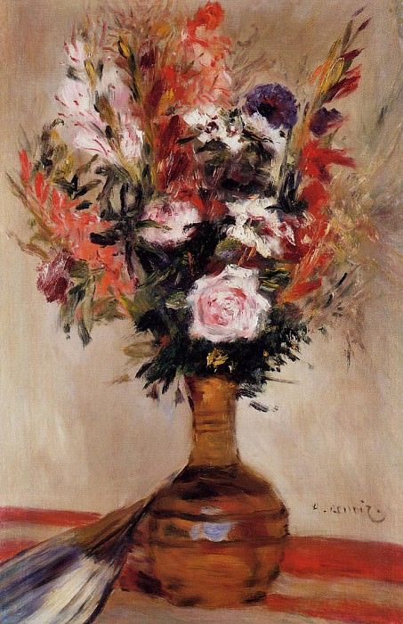 Roses in a Vase - 1872. Пьер Огюст Ренуар