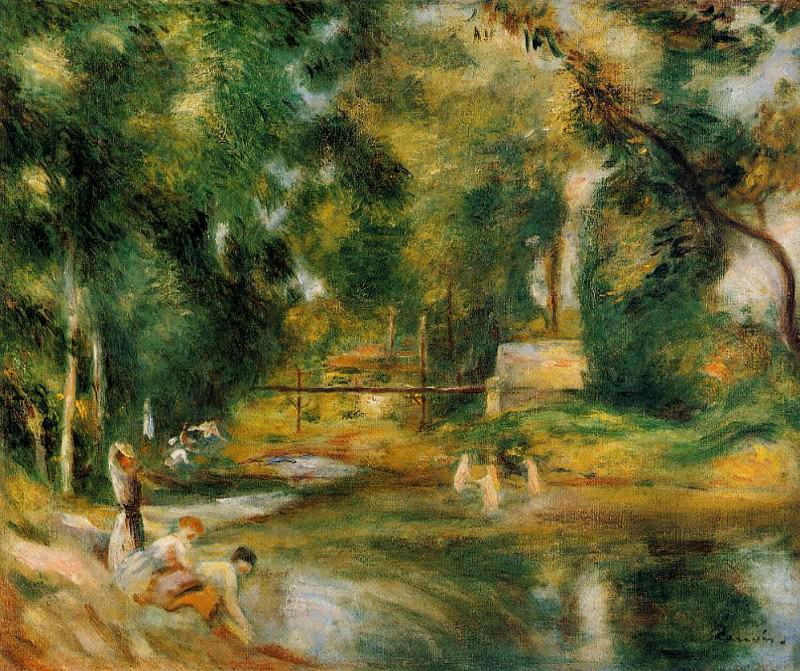 Essoyes Landscape - Washerwoman and Bathers - 1900. Пьер Огюст Ренуар