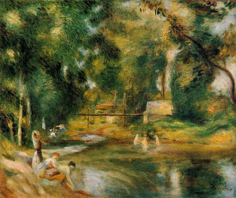 Essoyes Landscape - Washerwoman and Bathers - 1900. Pierre-Auguste Renoir