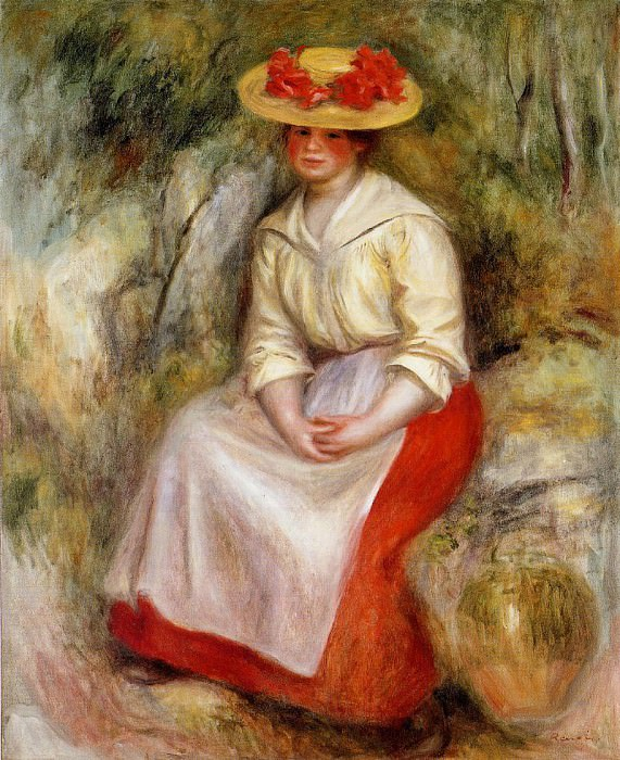 Gabrielle in a Straw Hat - 1900. Пьер Огюст Ренуар