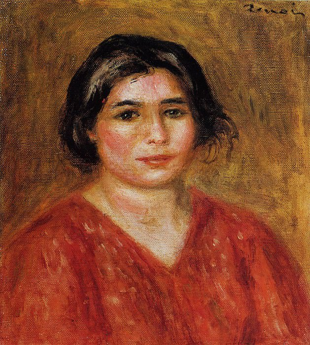 Gabrielle in a Red Blouse - 1913. Пьер Огюст Ренуар