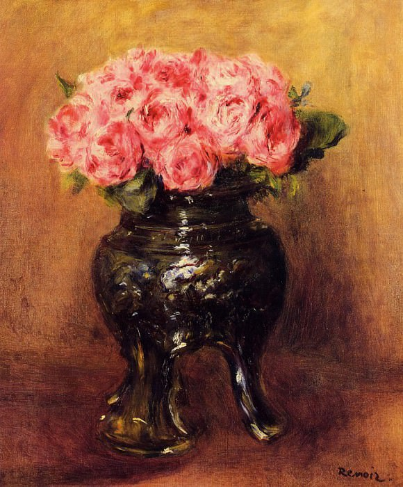 Roses in a China Vase - 1876. Pierre-Auguste Renoir