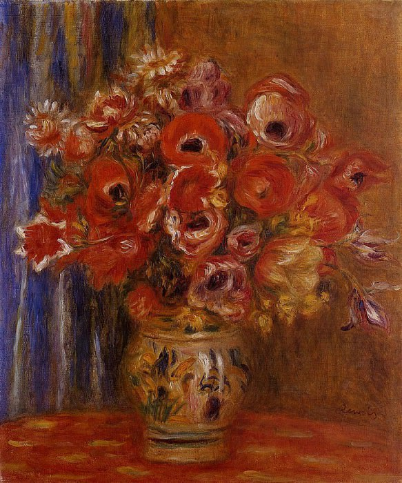 Vase of Tulips and Anemones. Pierre-Auguste Renoir