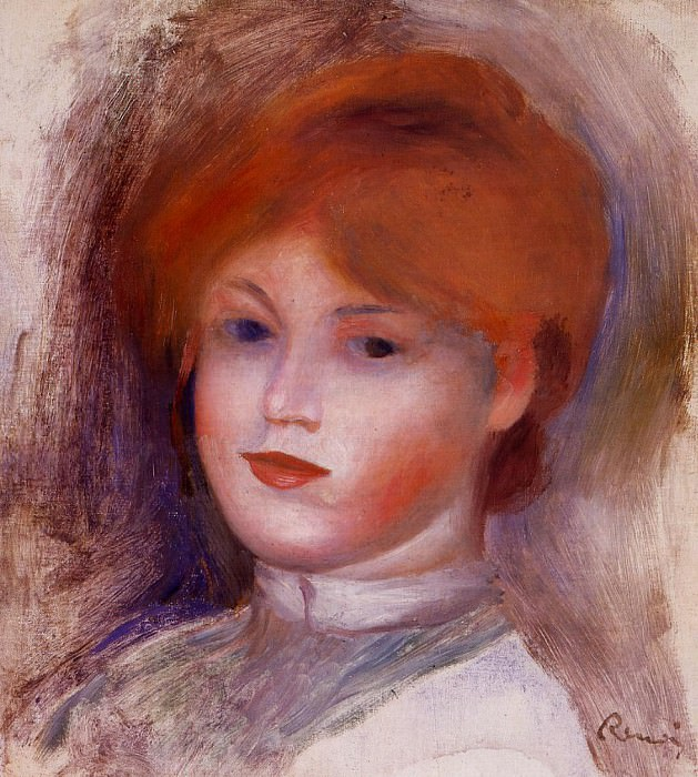 Head of a Young Woman - 1892 -1893. Пьер Огюст Ренуар