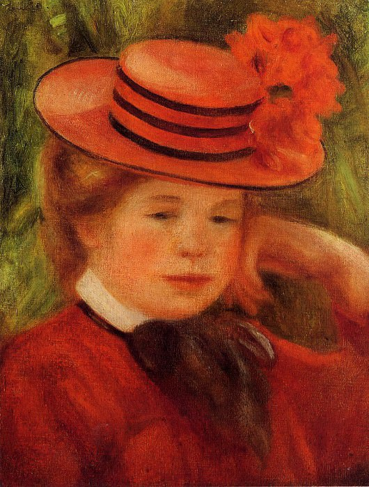 Young Girl in a Red Hat - 1899. Pierre-Auguste Renoir