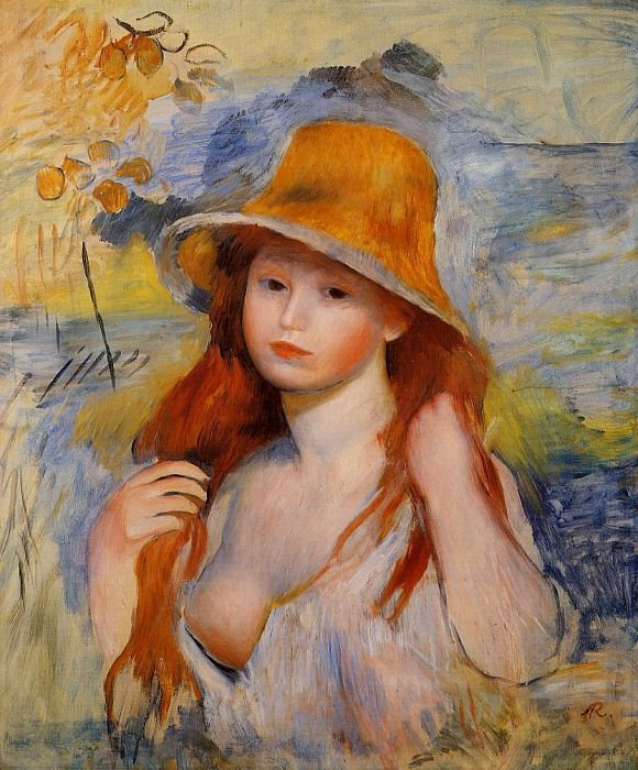 Young Woman in a Straw Hat - 1884. Pierre-Auguste Renoir