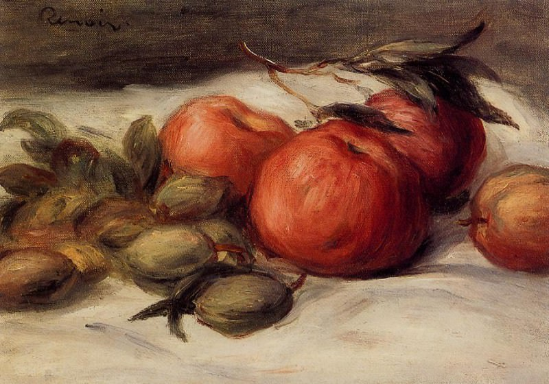 Still Life with Apples and Almonds. Pierre-Auguste Renoir