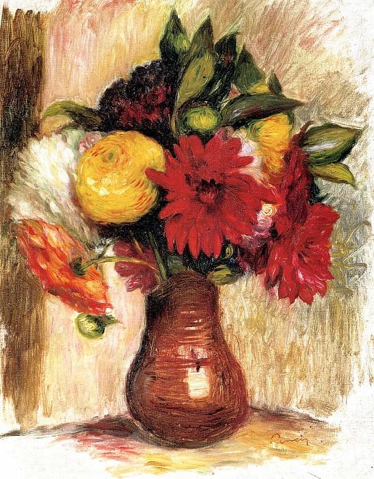 Bouquet of Flowers in an Earthenware Pitcher. Pierre-Auguste Renoir