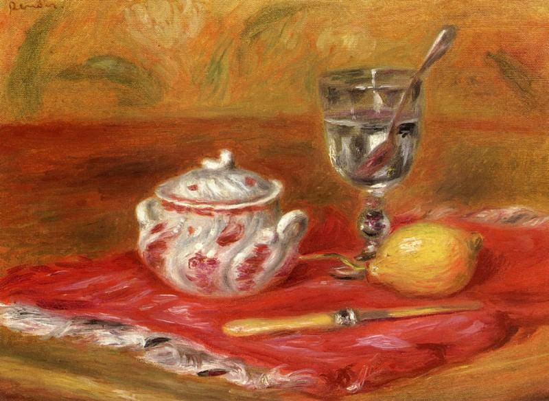 Still LIfe with Glass and Lemon. Pierre-Auguste Renoir