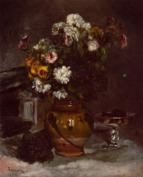 Flowers in a Vase and a Glass of Champagne. Pierre-Auguste Renoir