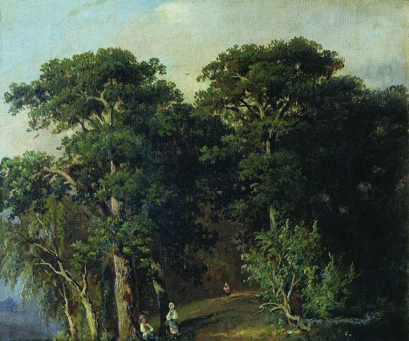 Forest Landscape with figures. 1880 33h40, 5. Ivan Ivanovich Shishkin
