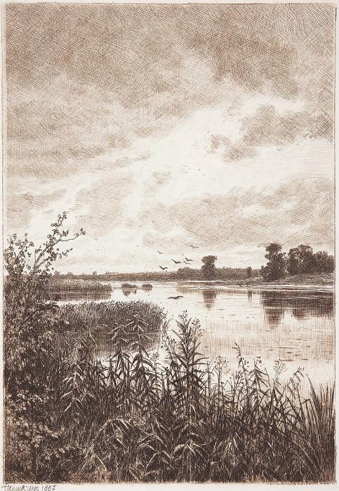 On the river after a rain. 1887 21, 8h15, 3. Ivan Ivanovich Shishkin