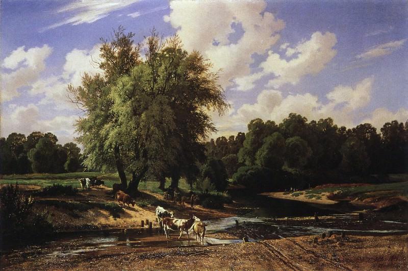 Cows at a Watering. 1867 71h107. Ivan Ivanovich Shishkin