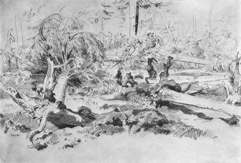 fallen tree 1870, 32 8h47, 8. Ivan Ivanovich Shishkin