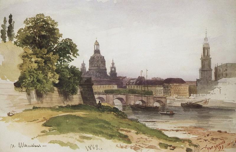 Dresden. Bridge of Augustus. 1862 16x24, 7. Ivan Ivanovich Shishkin