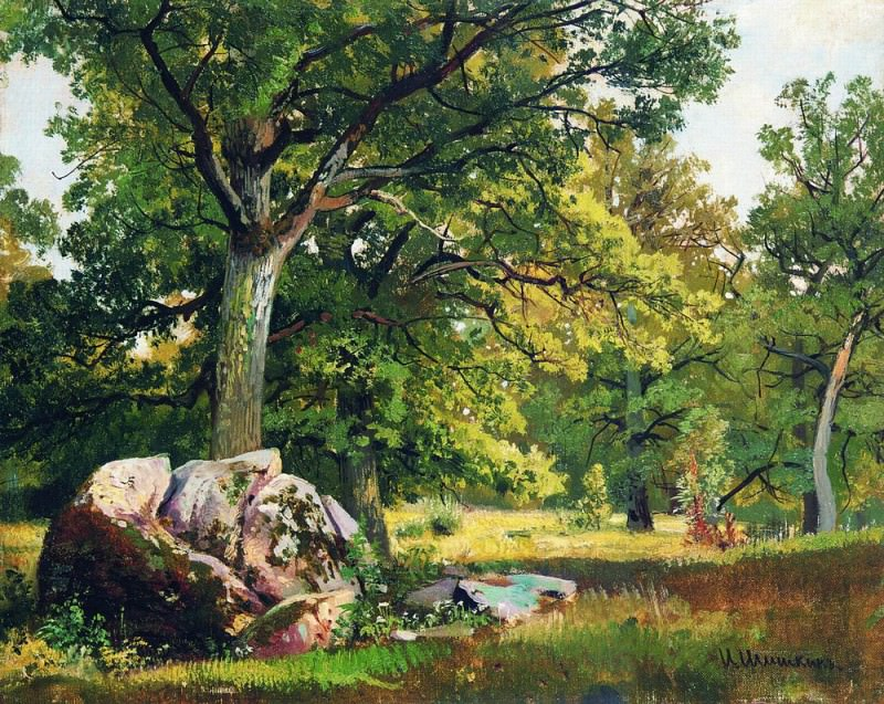 Sunny day in the woods. Oaks 1891 30h37. Ivan Ivanovich Shishkin