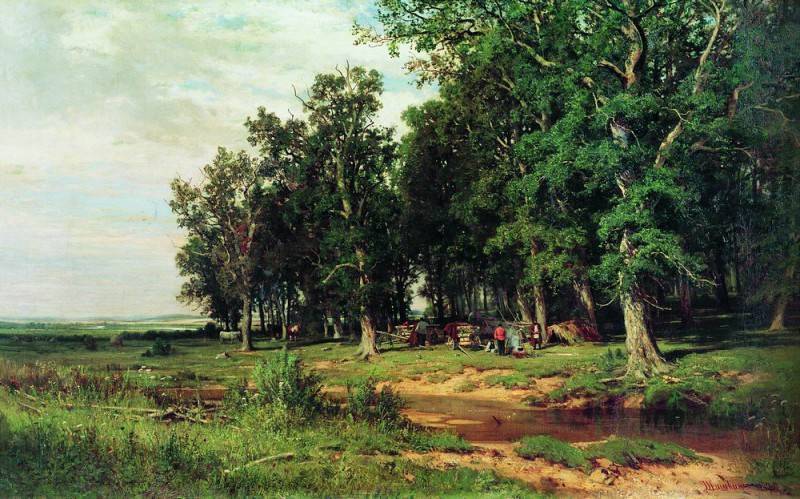 At mowing in an oak grove 1874 103h167. Ivan Ivanovich Shishkin