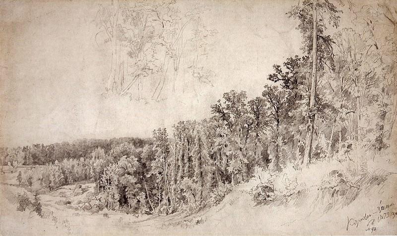 ravine Kozlovka-hiding-place. With trees. 1873 36, 4h60, 4. Ivan Ivanovich Shishkin
