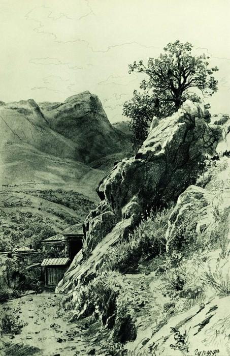 In the mountains Gurzuf. Paper, pencil 45h30. Ivan Ivanovich Shishkin