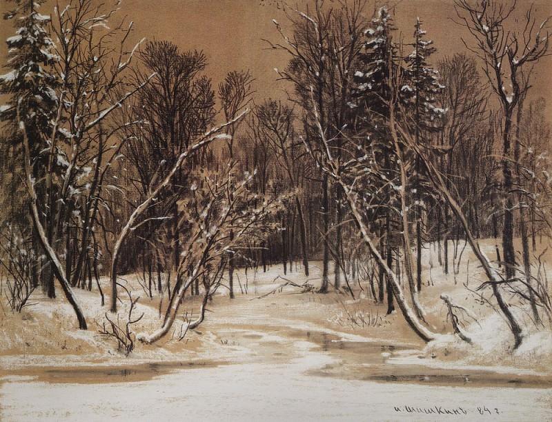 Forest in winter. 1884 paper brown. charcoal, chalk, 49 3h64, 1. Ivan Ivanovich Shishkin