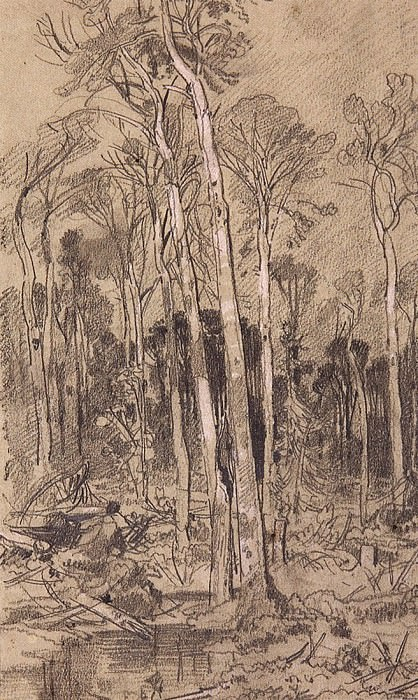 Spring in the woods. 1880, 26h17, 6. Ivan Ivanovich Shishkin