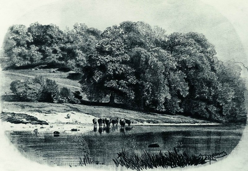 Herd on the river 1870 27h38, 6. Ivan Ivanovich Shishkin