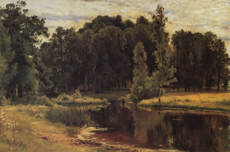 Pond in the old park. Study 1897 43, 3h67. 1. Ivan Ivanovich Shishkin