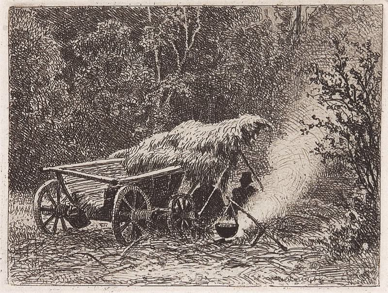 campfire. 1873 7, 1h9, 5. Ivan Ivanovich Shishkin
