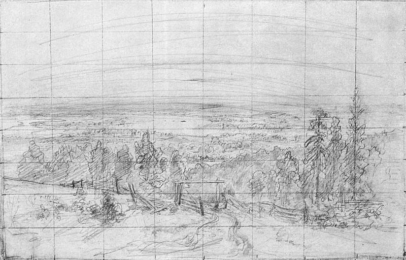Разливы рек, подобные морям 1890 22х34. Иван Иванович Шишкин