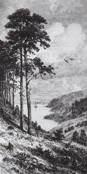 On the Kama near Yelabuga. 1885, 20 6x10, 9. Ivan Ivanovich Shishkin