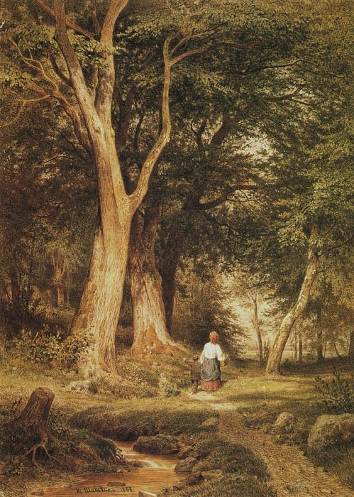 Woman with a boy in the woods 1868. Paper, pen, ink, watercolor, lacquer 43, 8h31, 6. Ivan Ivanovich Shishkin