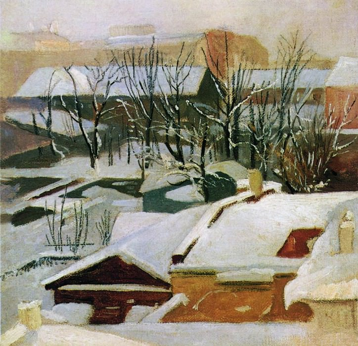 City roof in winter 1880-1890-s 22x22. 5. Ivan Ivanovich Shishkin
