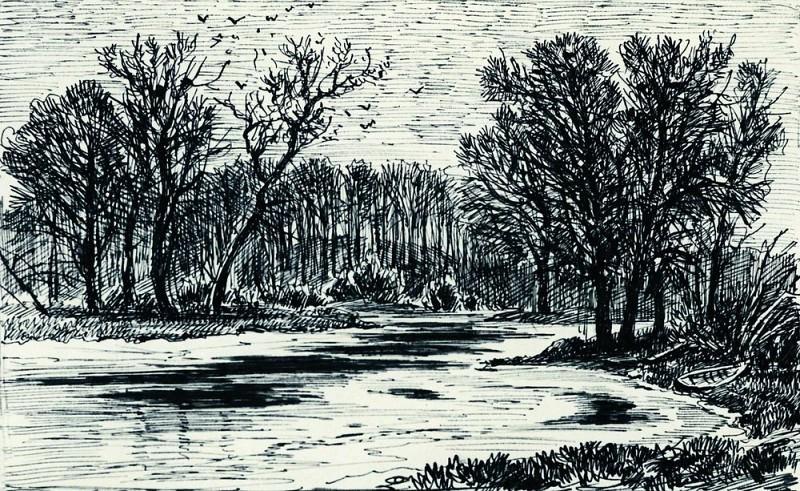 swamp in the woods 1885 paper. ink, pen 10, 3h16, 8. Ivan Ivanovich Shishkin